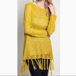 Umgee Yellow Sheer Knit Fringed Tunic Sweater SZ M